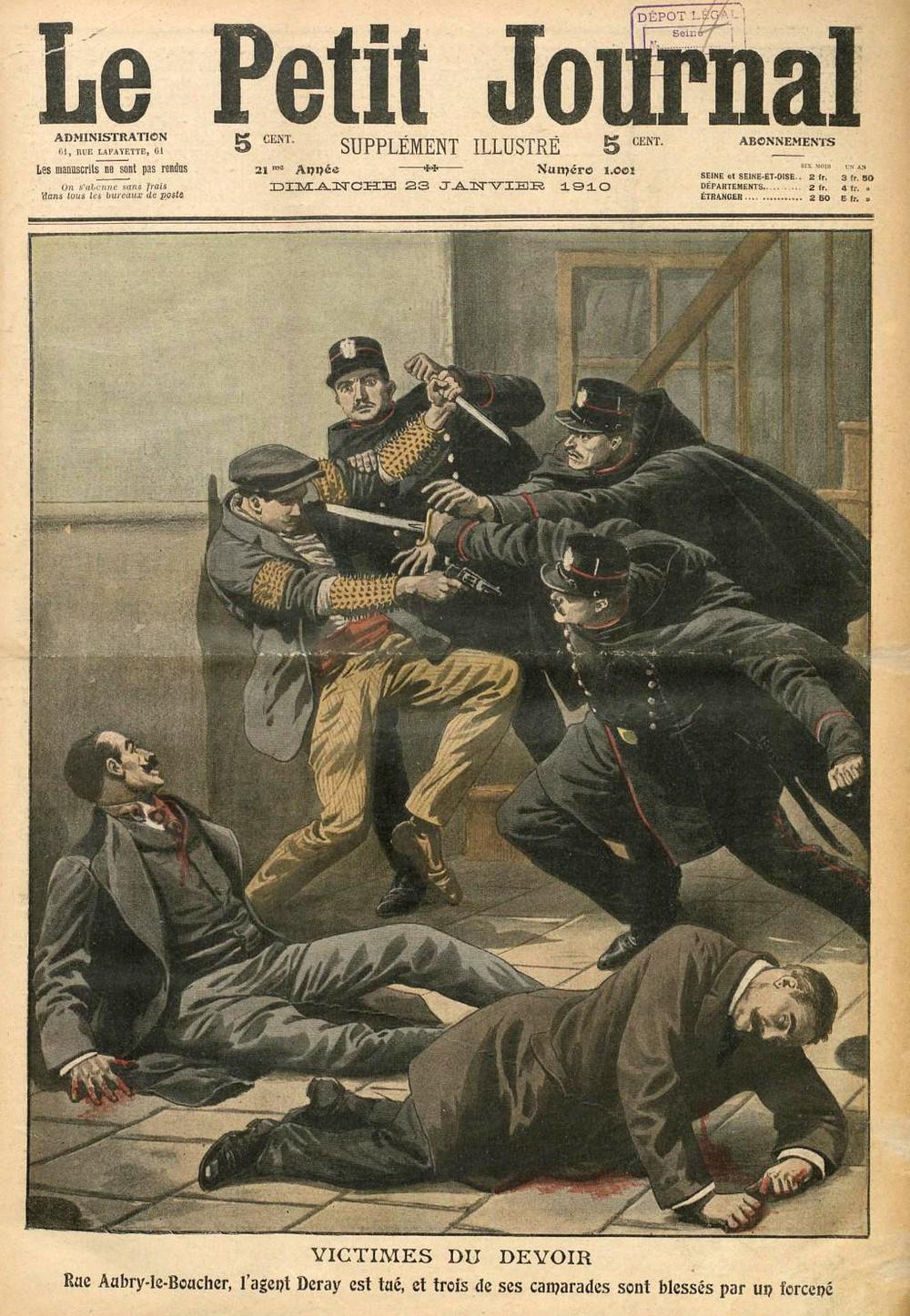 Liabeuf, provisto de sus brazaletes afilados, se enfrenta a los agentes antes de ser detenido