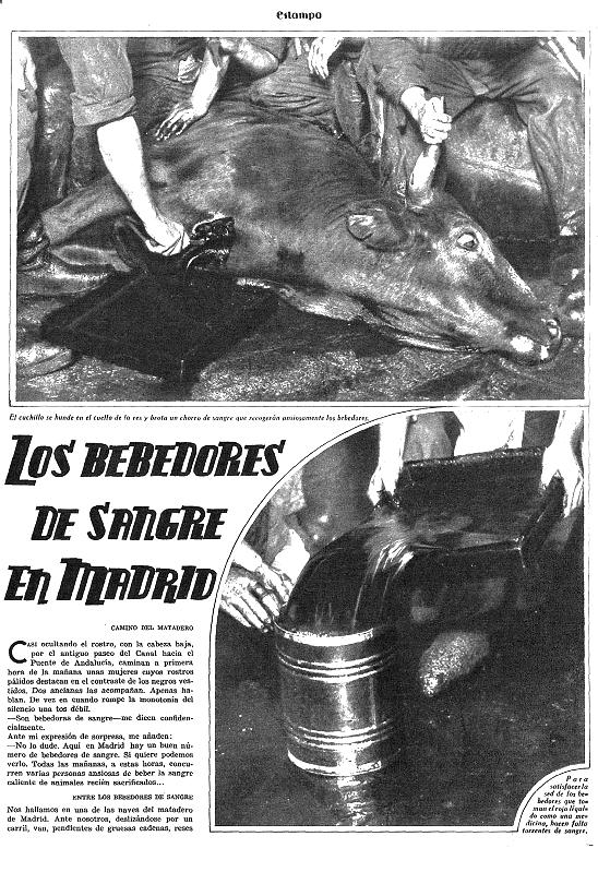 Reportaje «Los bebedores de sangre en Madrid» publicado por la revista  Estampa  (agosto, 1933).