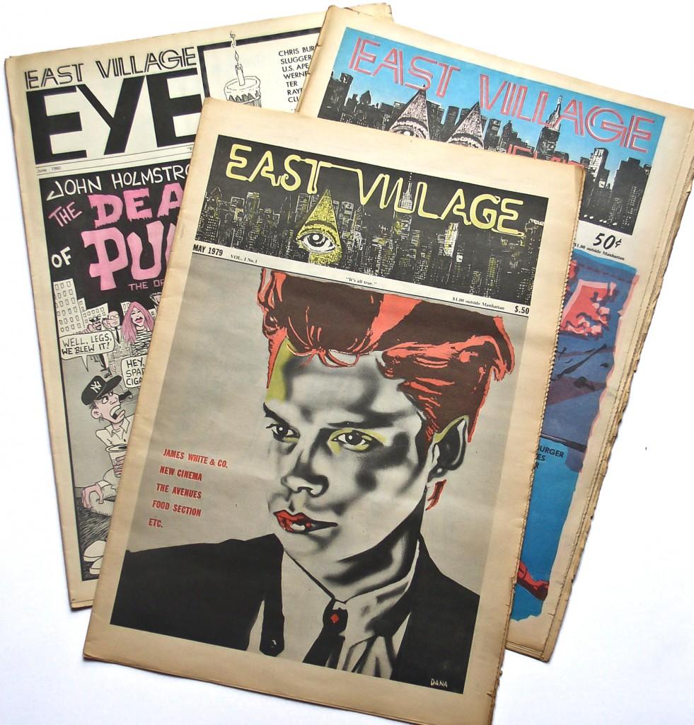 Varios ejemplares del East Village Eye, incluido el legendario primer número