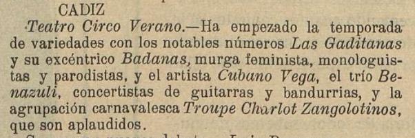 Las Gaditanas en una noticia publicada durante el verano de 1918