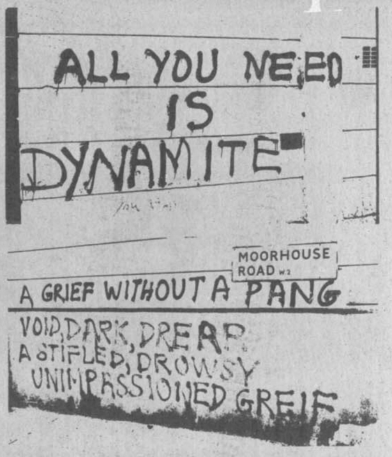 Pintadas de King Mob. Arriba, puede leerse: «All you need is dynamite»