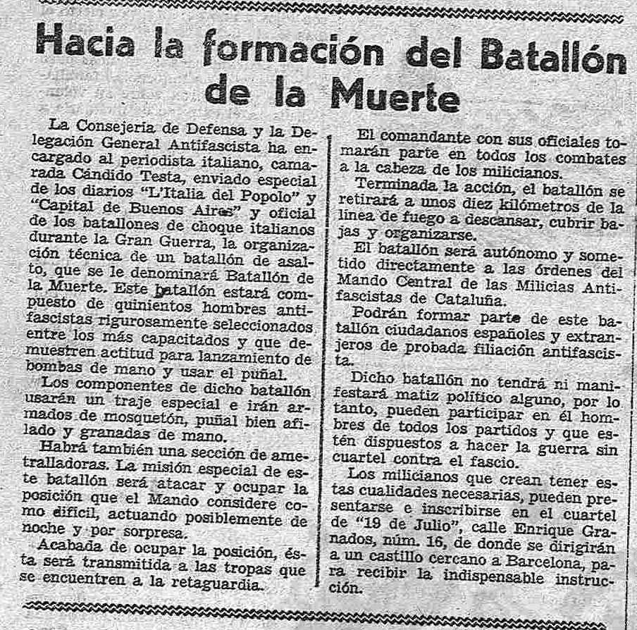 Llamada publicada en la prensa para el reclutamiento de voluntarios y voluntarias en el Batallón de la Muerte