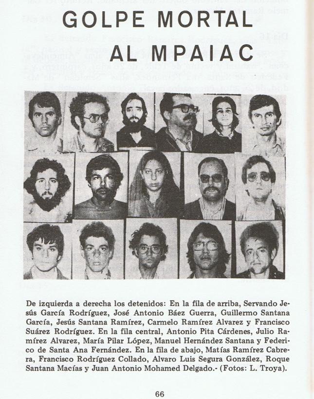 Lista de detenidos por pertenencia al grupo armado