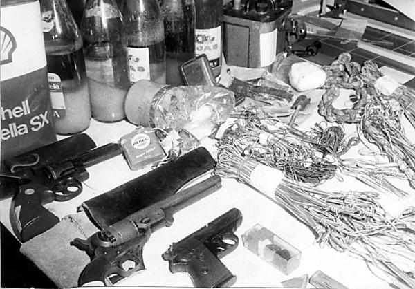 Material incautado a varios comandos del MPAIAC tras su desarticulación en 1978. Los propios miembros de la organización afirmaron que todo aquel material había sido «colocado» por la policía.