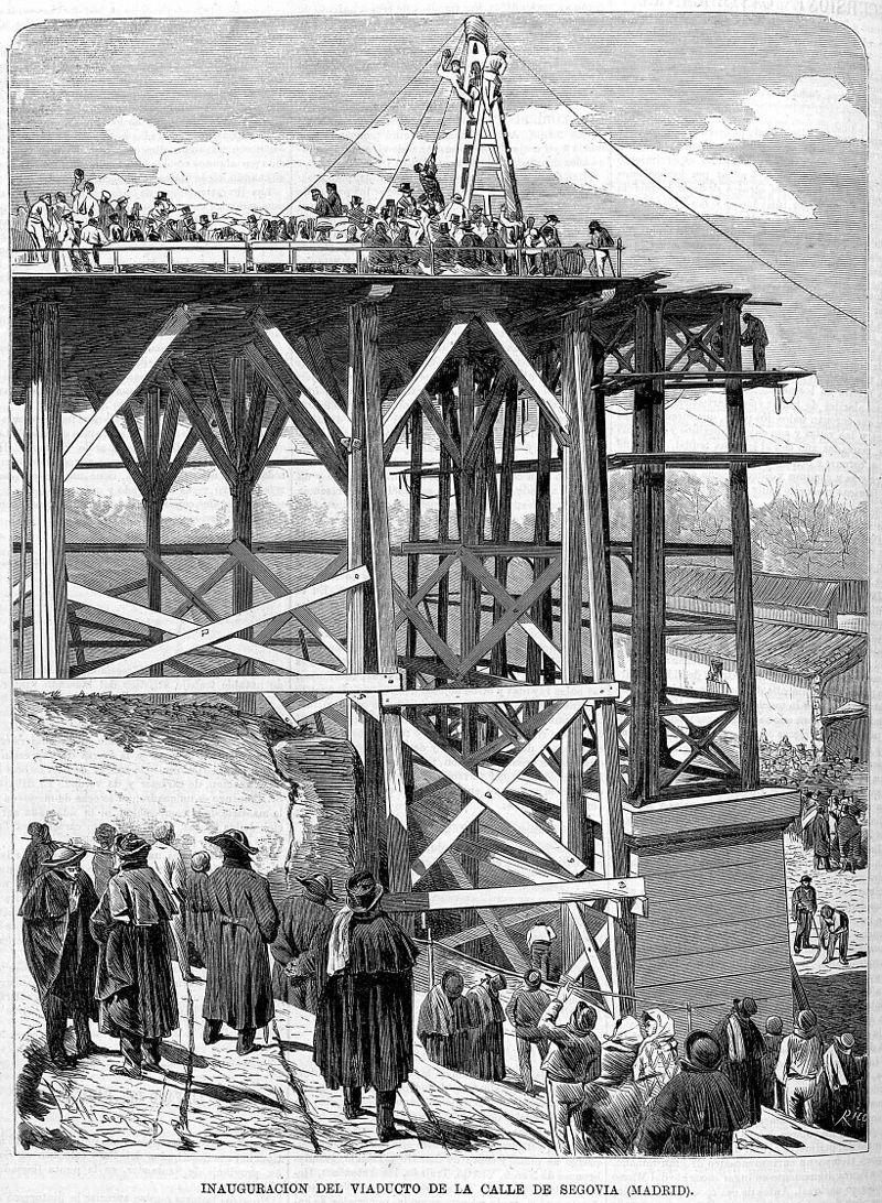 Construcción del viaducto original, en 1872, grabado publicado en La Ilustración Española