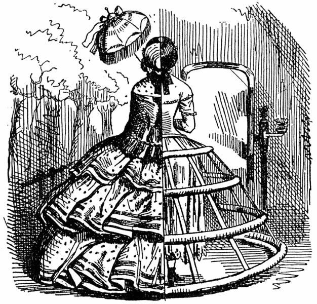 Falda con ballenas o arcos de acero de moda en la época de la primera suicida del Viaducto