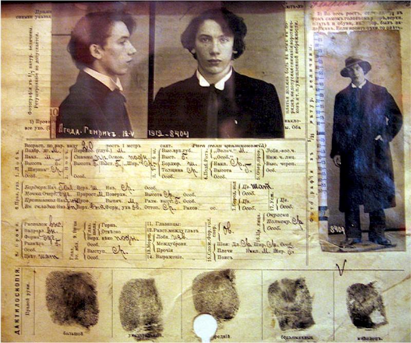 Ficha policial de un detenido por la Ochrana
