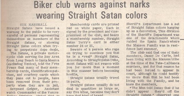 Noticia en la prensa durante la época de Manson y La Familia. Los Straight Satans y sus conexiones con los bajos fondos