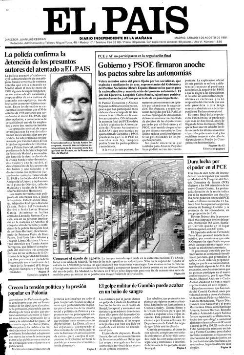 Agosto de 1981, El País. Son detenidos los autores del atentado contra el diario