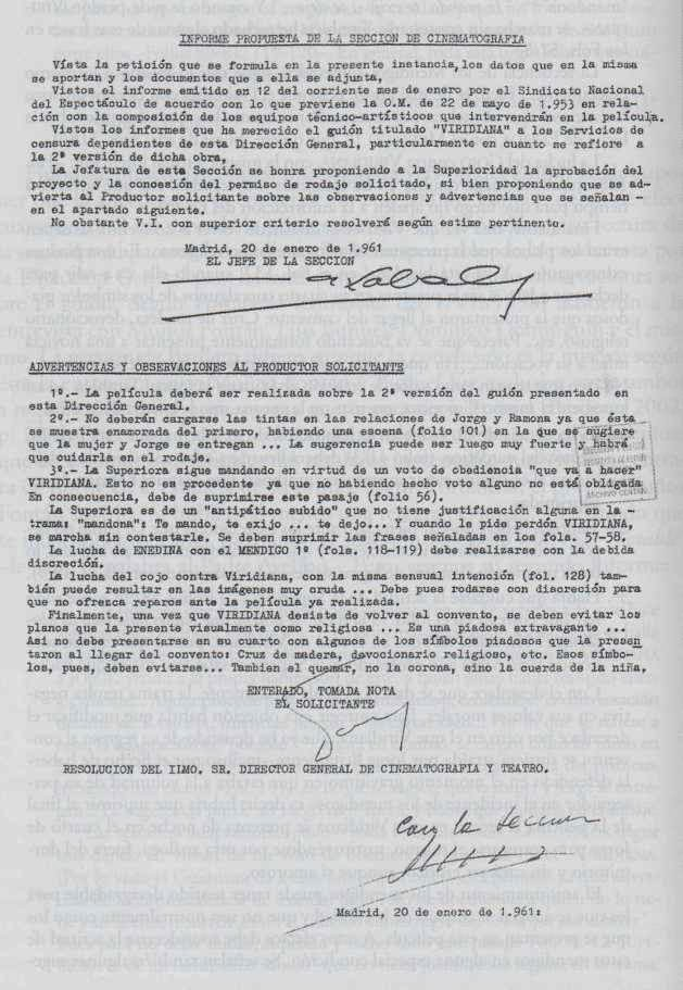 Informe (favorable) de censura de 20 de enero de 1961