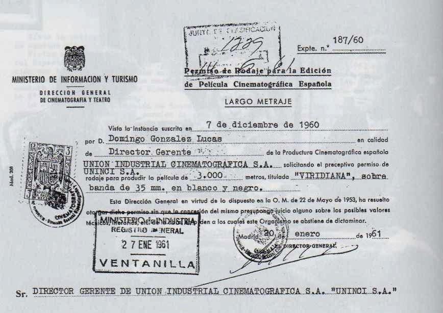 Permiso de rodaje emitido por las autoridades franquistas