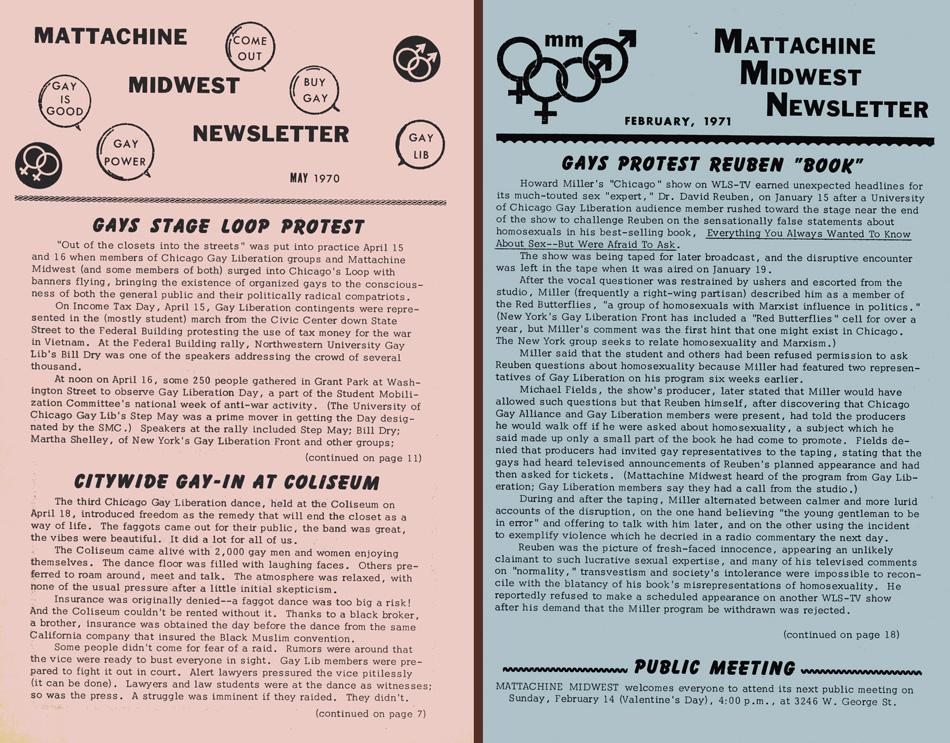 Panfletos de Mattachine Midwestde Chicago que recoge los bailes de protesta en el Coliseum de Chicago (mayo, 1970)