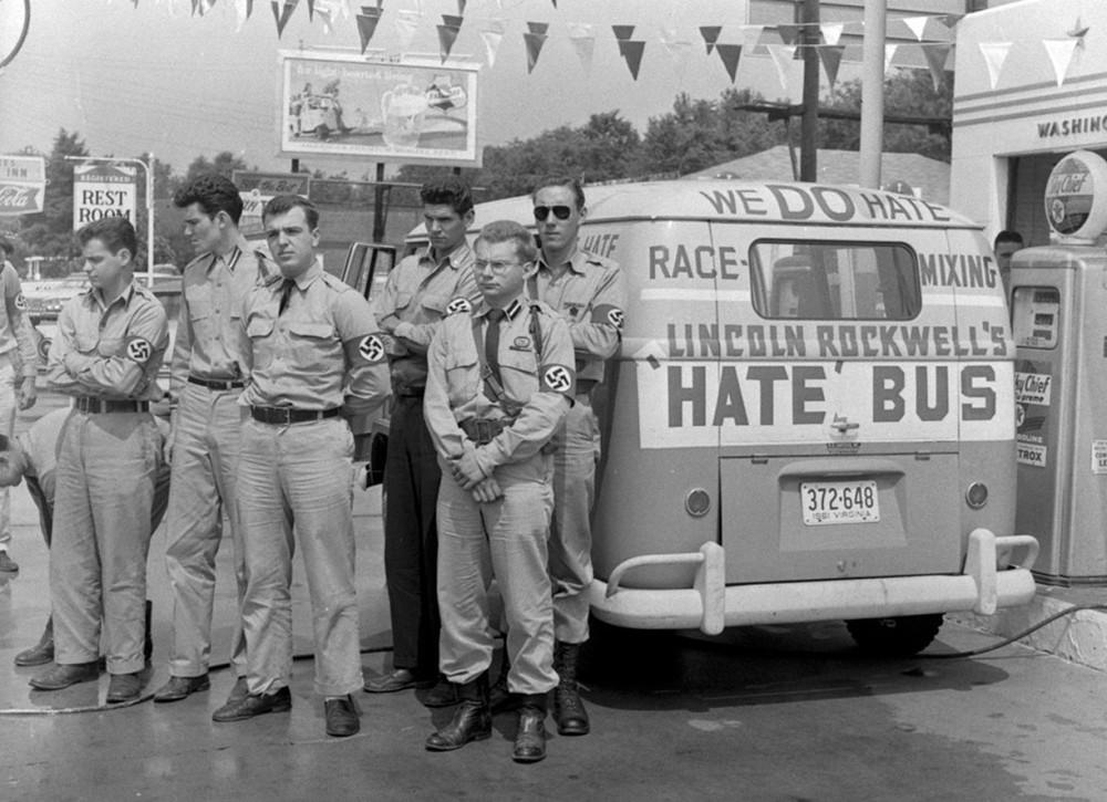 Los «autobuses del odio» organizador por Rockwell, Patler y el Partido Nazi (1961)