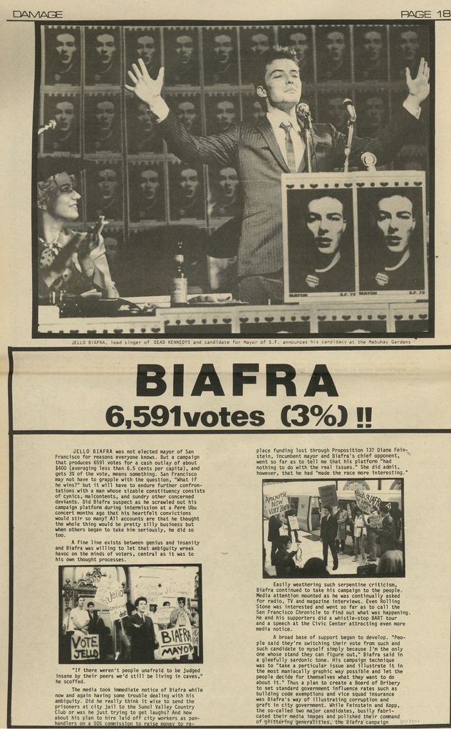 Artículo de la revista  Damage  donde se analiza la candidatura de Biafra y el resultado electoral