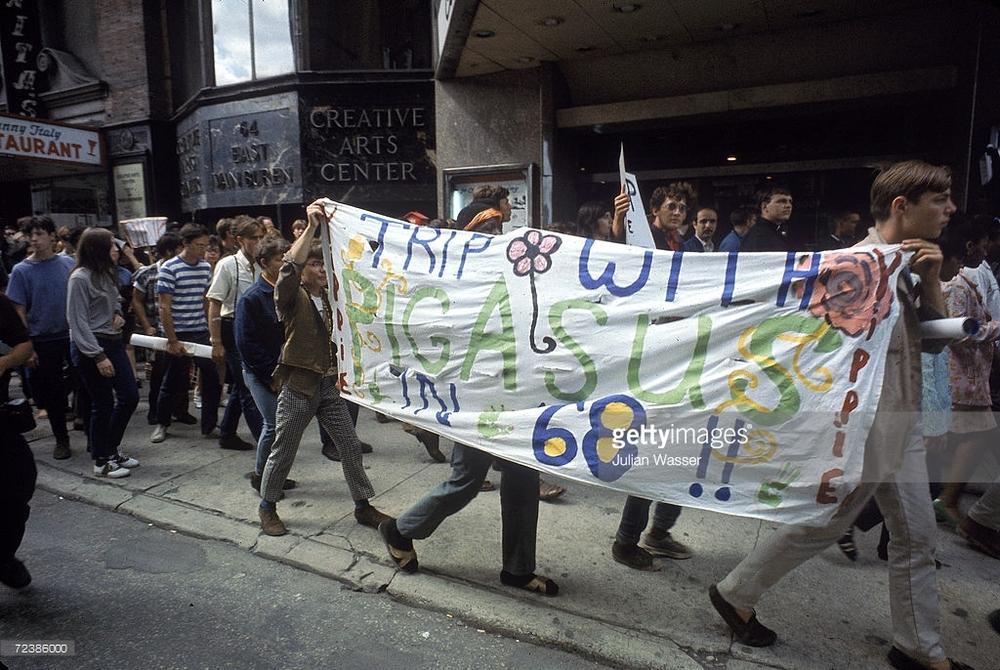 Manifestación yippie en Chicago a favor de Pigasus.