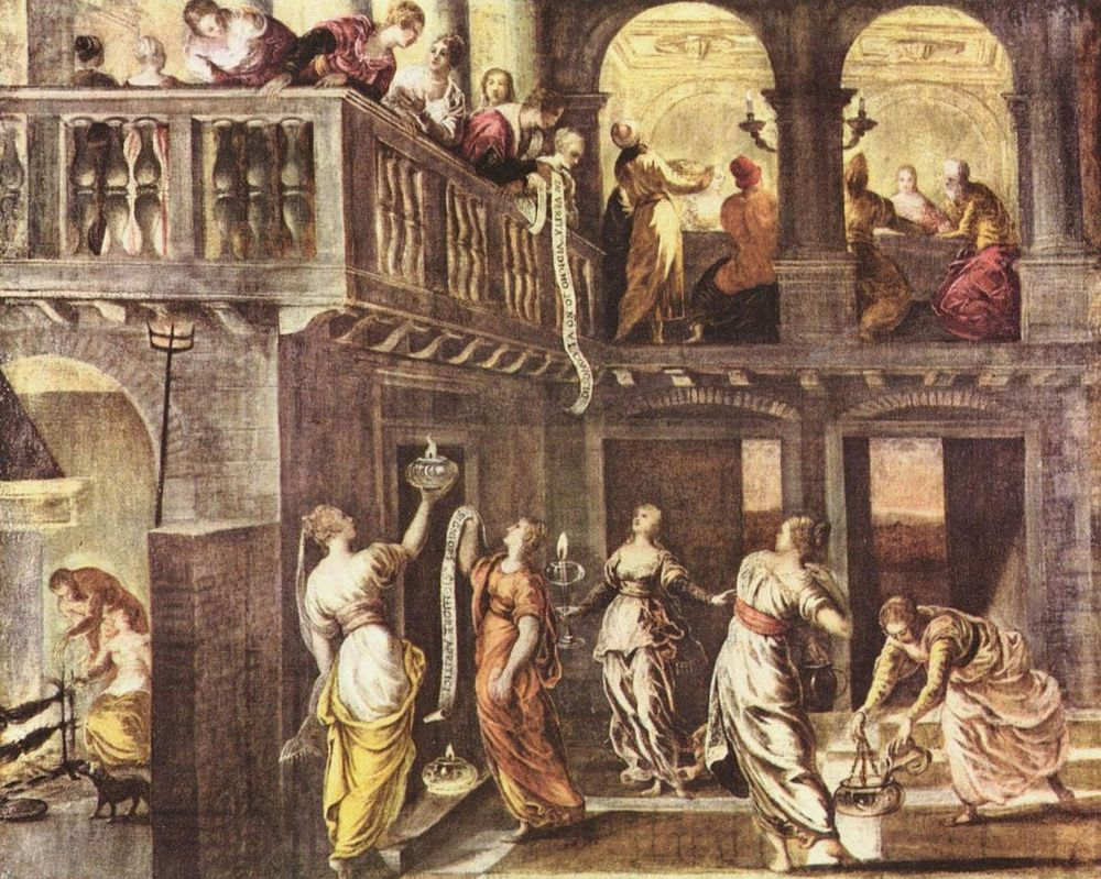 Las vírgenes sabias y las vírgenes necias de Tintoretto