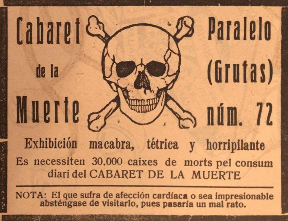 Anuncio del Cabaret de la Muerte de Barcelona publicado en La Campana de Gracia (noviembre y diciembre de 1925) y en La Esquella de la Torratxa (enero de 1926)
