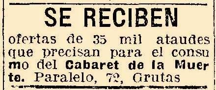 El Cabaret de la Muerte y su anuncio solicitando 35.000 ataúdes para su show