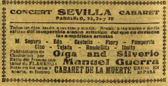 Publicidad del Cabaret Sevilla en el que también se anuncia el Cabaret de la Muerte