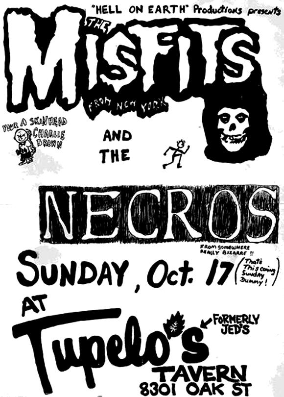 Cartel del show de Misfits junto a Necros el 17 de octubre de 1982