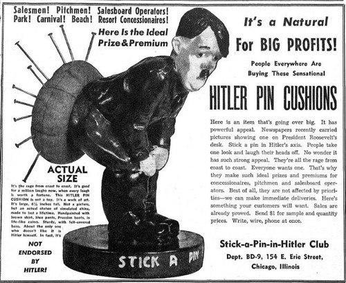 Alfileteros de Hitler comercializados durunte la Segunda Guerra Mundial en Estados Unidos