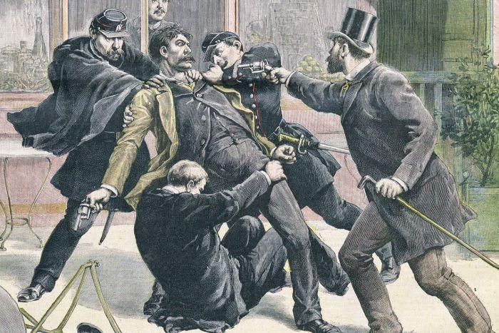 Ilustración que muestra la detención del anarquista Ravachol (1891)