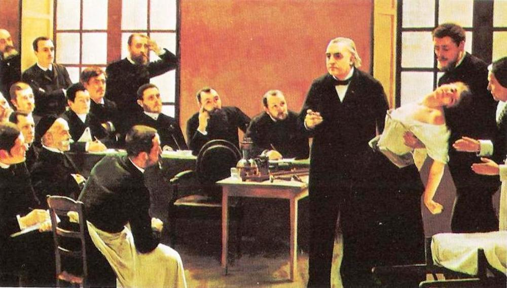 Representación de una de las conferencias «prácticas» del doctor Charcot