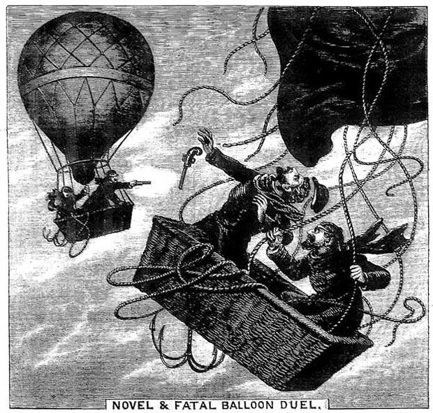 Otra ilustración del momento fatal. El globo de Le Pique, junto a su ayudante, es alcanzado