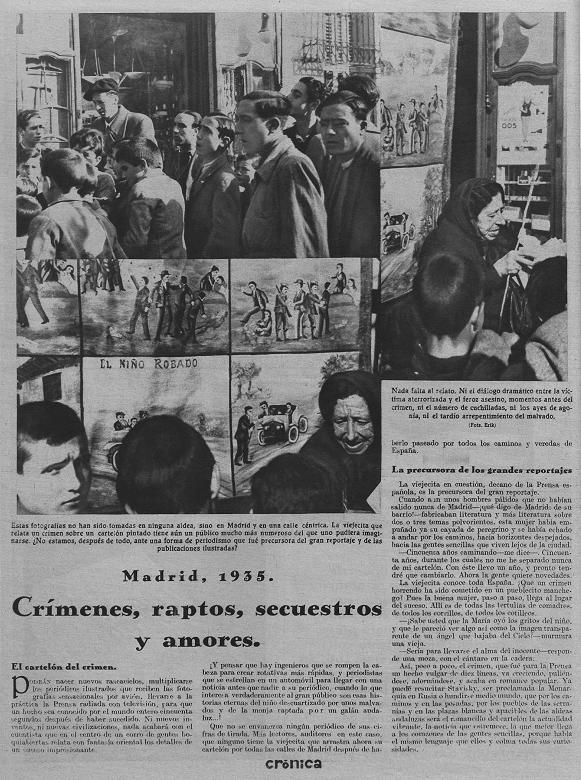 Reportaje de la revista  Crónica  titulado «Crímenes, raptos, secuestros y amores» y donde vemos a la última narradora de historias asombrosas