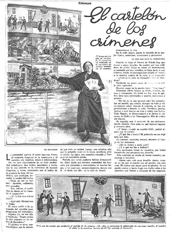 Reportaje de la revista  Estampa  «El cartelón de los crímenes»