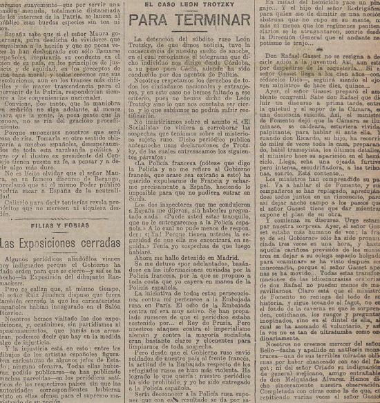 Nuevamente el caso en la prensa española ( La Acción , 15 de noviembre de 1916). Escribe el propio Trotski