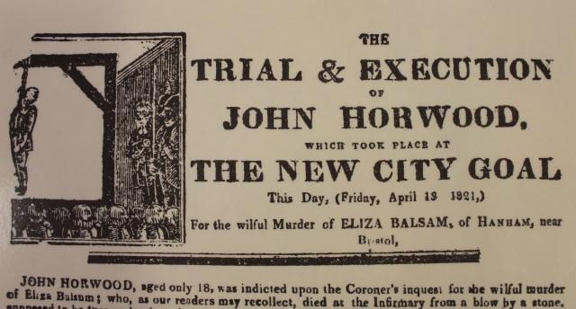 Recorte de la prensa de la época anunciando el juicio y ejecución de John Horwood