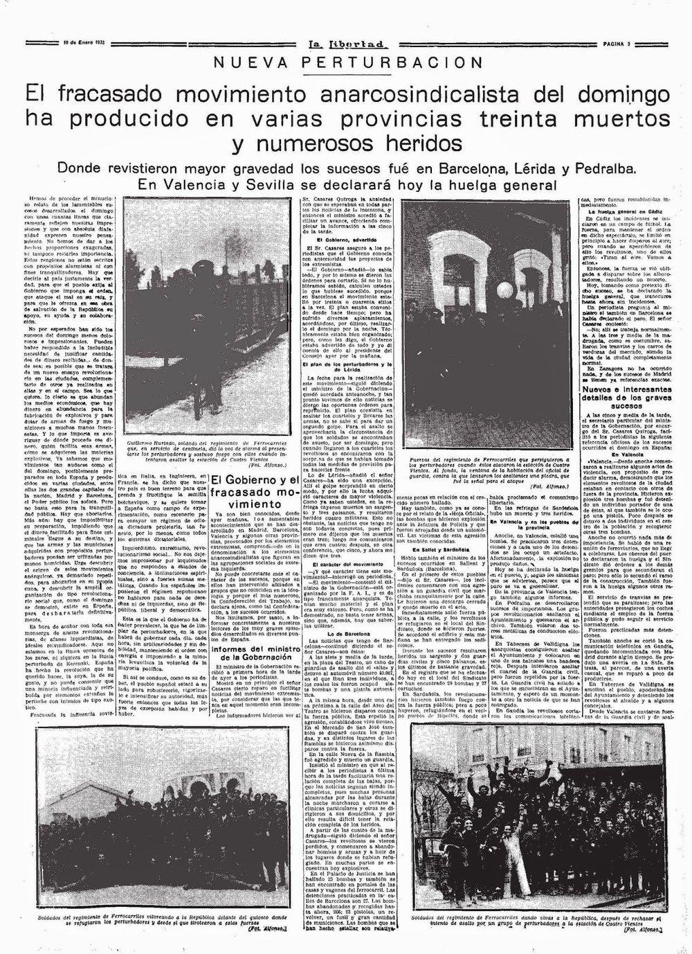 Noticia sobre el fracaso insurreccional.La Libertad (10 de enero de 1933)