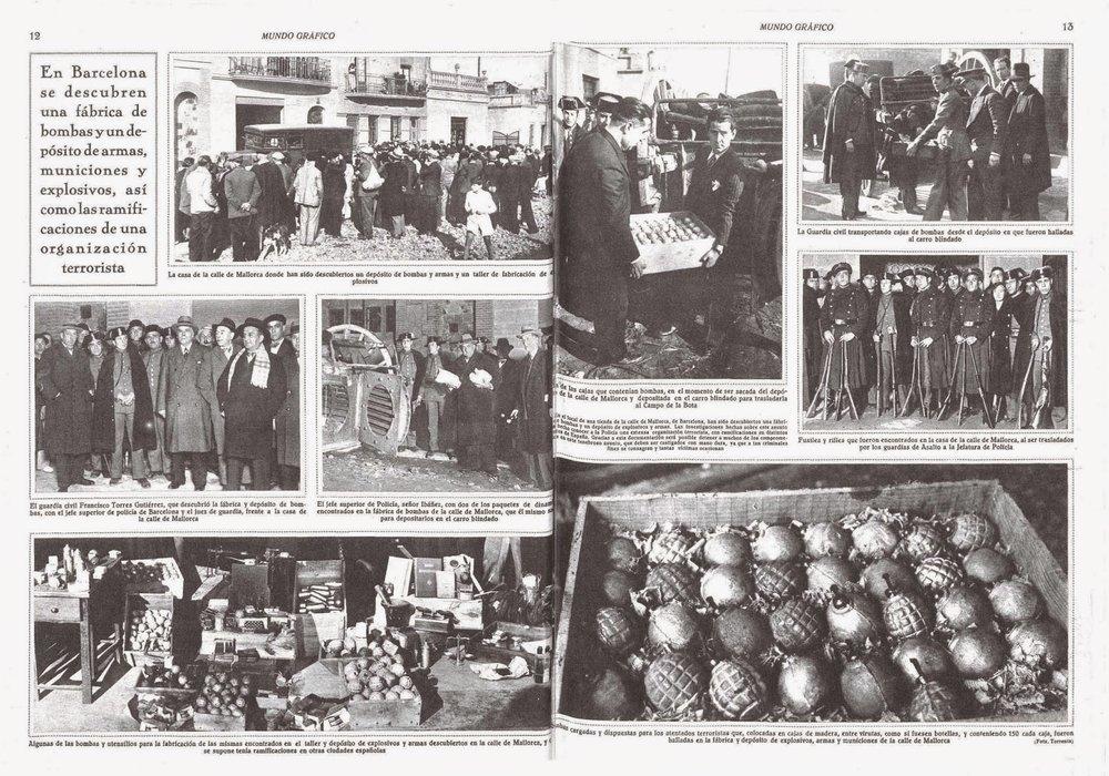 Mundo Gráfico también recogió el hallazgo de más arsenales (enero, 1933)