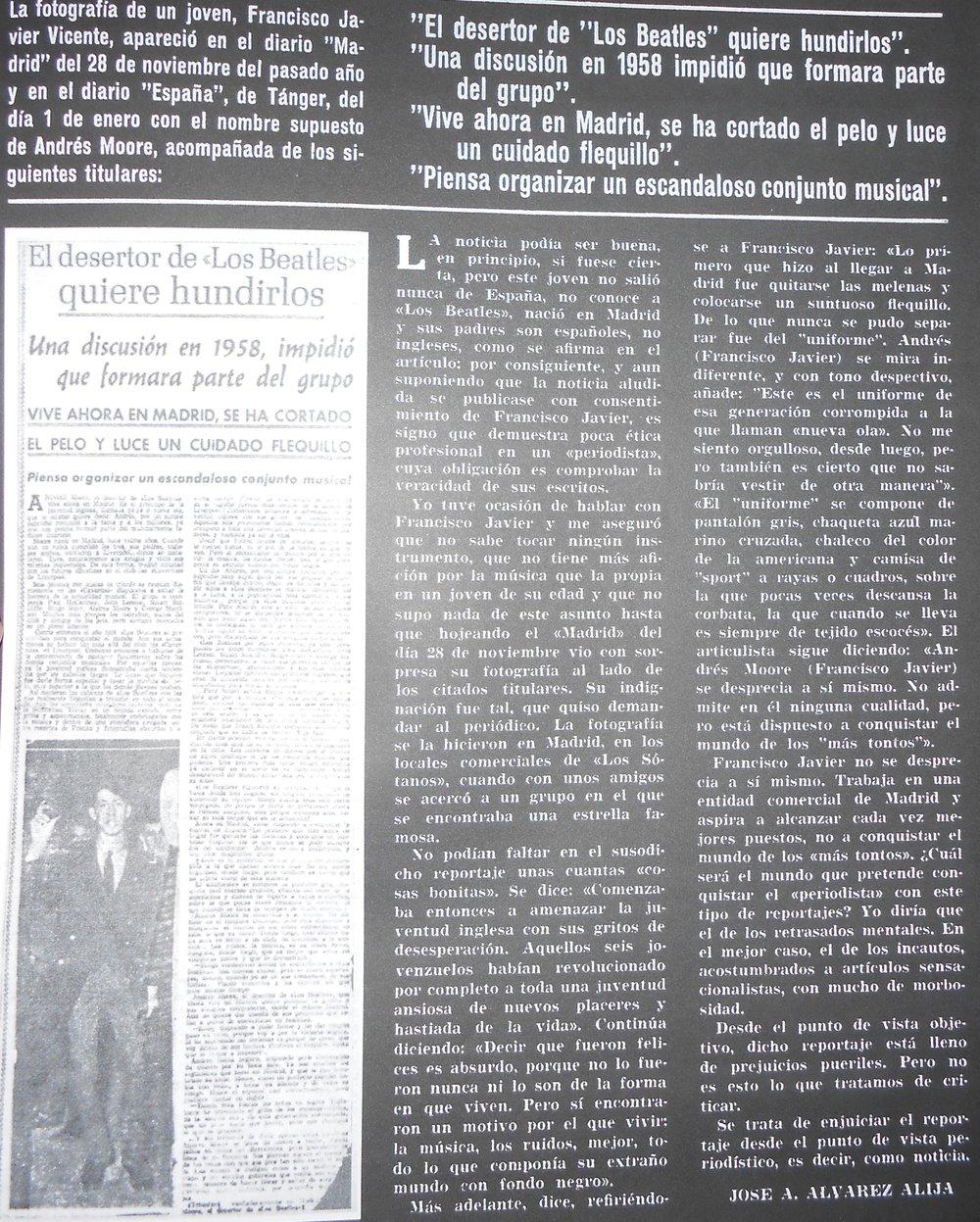 El artículo publicado en Fonorama. A la izquierda, la pieza objeto de polémica en la que puede verse a Andrés Moore (Francisco Javier)