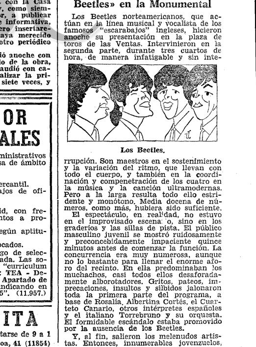 «Desaforadamente alborotadores». Primera página de la crónica del show en ABC (20 de septiembre de 1964)