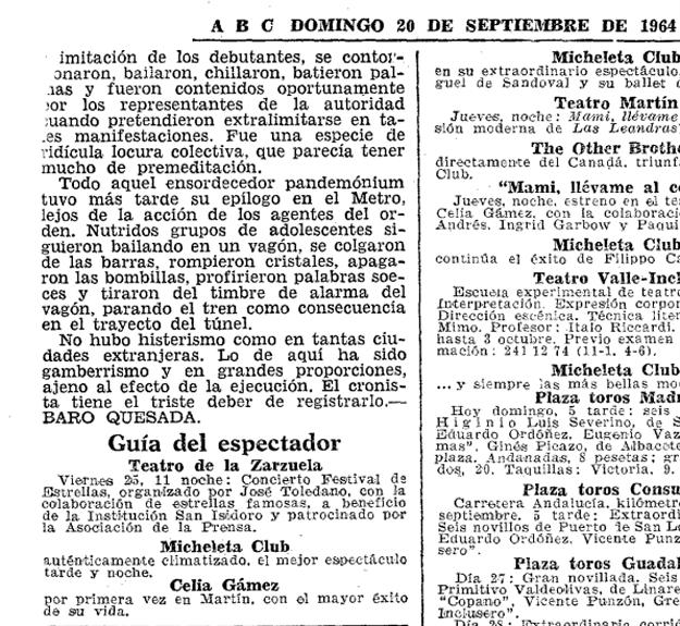 «Ha sido gamberrismo en grandes proporciones». Segunda página de la crónica del show en ABC (20 de septiembre de 1964)