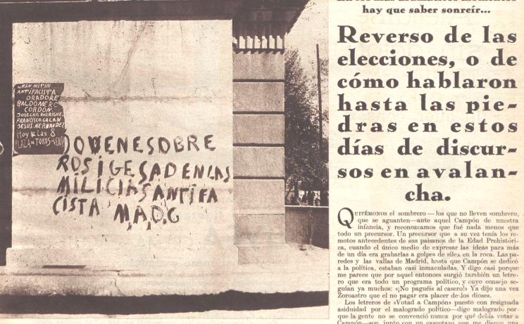 Carteles y pintadas recogidas por el reportaje de Crónica
