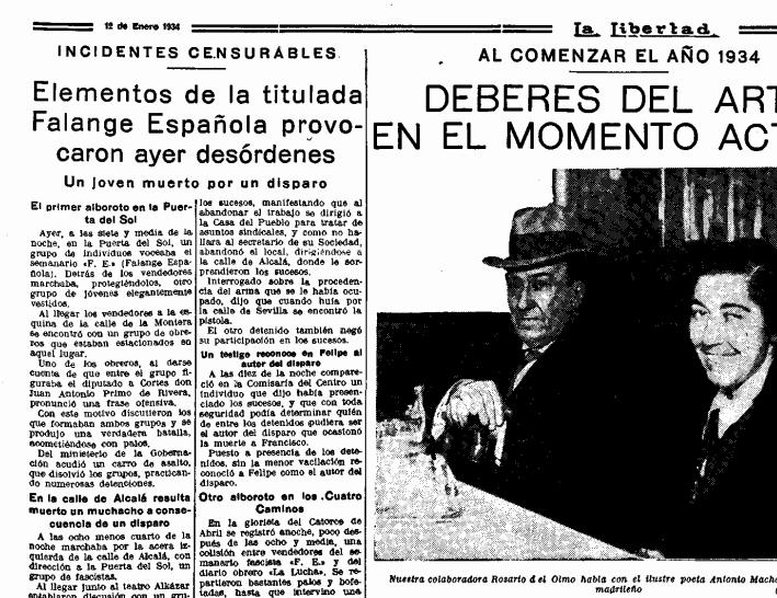 Noticia de los enfrentamientos publicada en La Libertad (12 de enero de 1934)