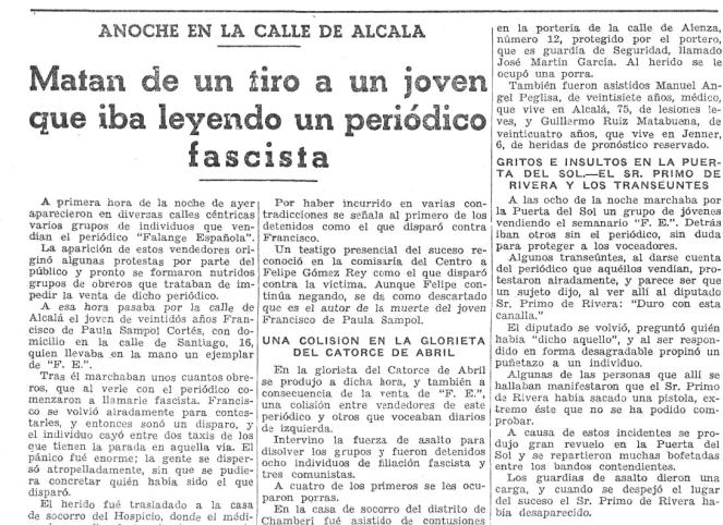 El asesinato en el periódico La Luz (12 de enero de 1934)