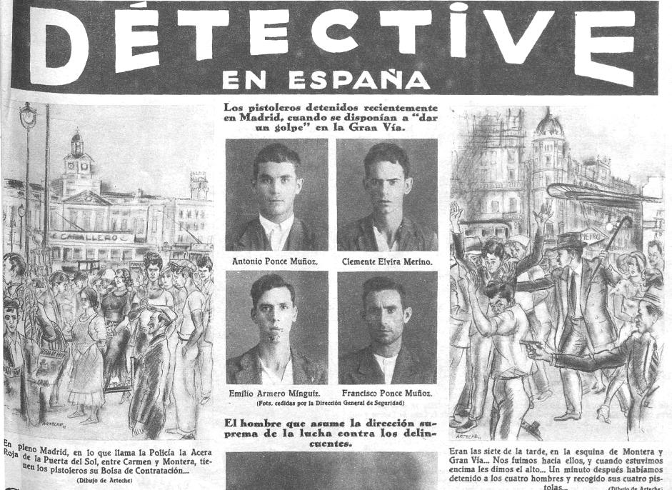 Reportaje de Crónica sobre el pistolerismo en la Puerta del Sol (18 de agosto de 1933)