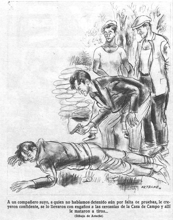 Segunda página del reportaje de Crónica sobre el pistolerismo en la Puerta del Sol (18 de agosto de 1933)