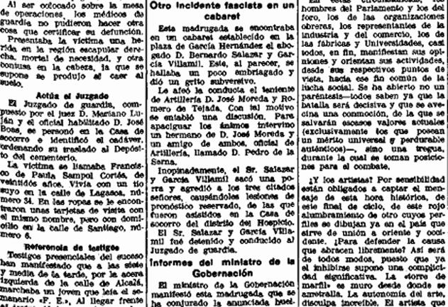 Incidentes en cabarets entre anarquistas y fascistas (La Libertad, 12 de enero de 1934)