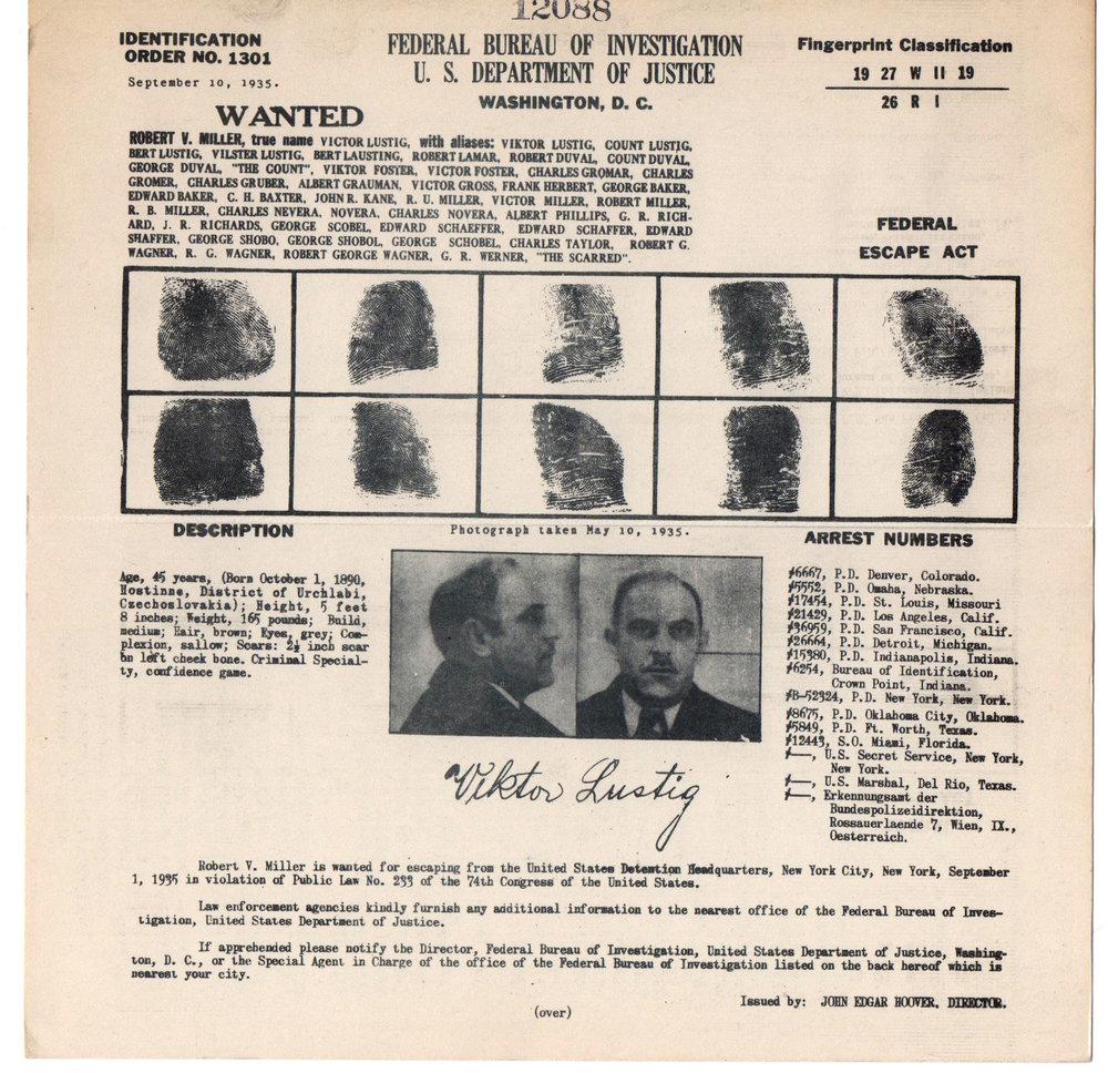 Ficha del FBI de Victor Lustig