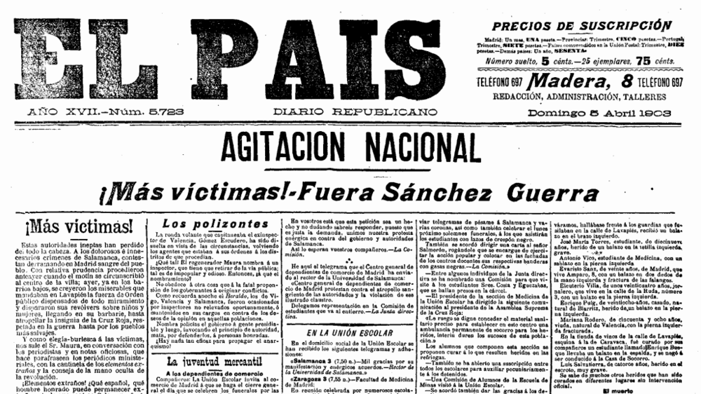 Portada de El País en su edición del domingo 5 de abril de 1903