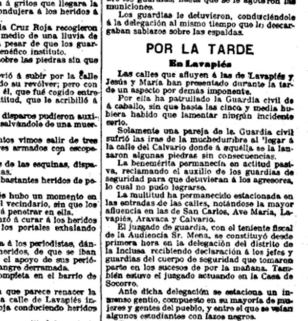 Cargas y disparos en Lavapiés. El Imparcial, 5 de abril de 1903