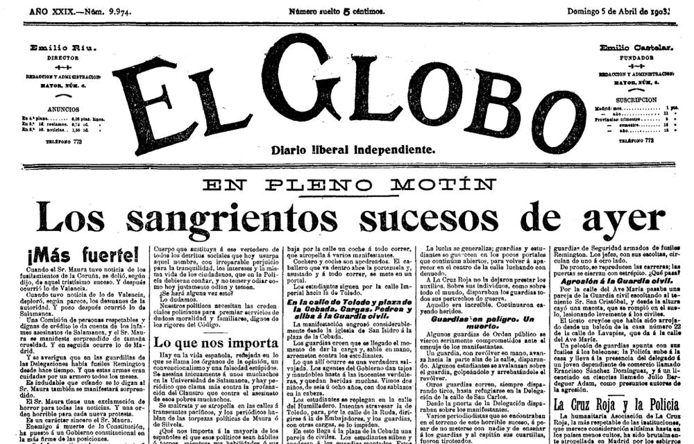 Portada de El Globo al día siguiente de los hechos.