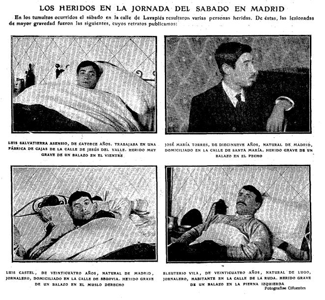 Algunos de los estudiantes y obreros heridos por bala en la manifestación. ABC, 9 de abril de 1903.