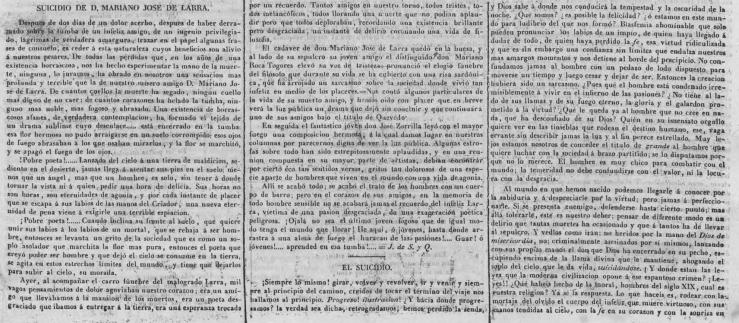 Artículo sobre el suicidio de Larra en la  Revista Nacional  (16 de febrero de 1837)