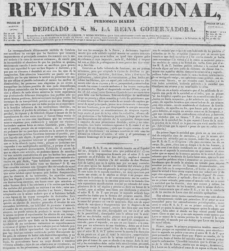 La  Revista Nacional , edición del 27 de febrero de 1837